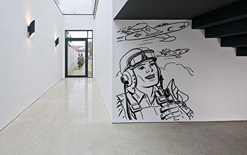 Wall Decal Sticker Bedroom Pilot Airplane Wings Sky City View Kids Boys Teenager Room 776b