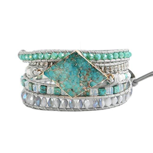 (YGLINE Wrap Bracelets Crystal Beaded Bohemian Style Jasper Leather Woven Healing Stone Jewelry for Women(Regalite-Rhombus))