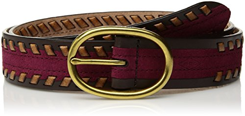 Fossil Casual Belt (Fossil Women's Evie Colorblock Leather Belt Accessory, -raspberry wine,)