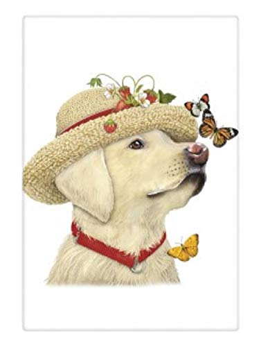 - Mary Lake Thompson Flour Sack Towel - Yellow Lab Dog, Straw Hat, Butterflies
