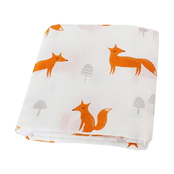 LifeTree Muslin Swaddle Blankets, Fox Print Baby Swaddling Blanket for Girls & Boys, 70% Bamboo 30% Cotton, Breathable, Soft Nursing Cover, Wrap, Burp Cloth, Baby Shower Gift