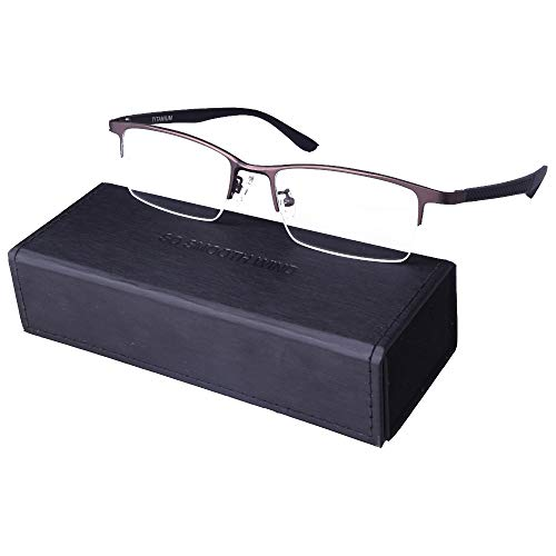 Pure Titanium Men Rectangle Eyewear Half Rim Business Eyeglasses Optical Glasses Frame With Non-Prescription Clear Lenses (Coffee)
