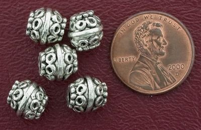 5 8mm ORNATE BARREL BALI PEWTER BEADS