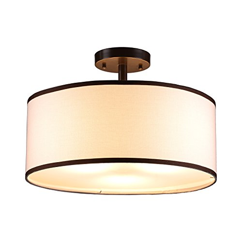 - CO-Z Drum Light, Bronze Finished 3 Light Drum Chandelier, Semi-Flush Mount Contemporary Ceiling Lighting Fixture with Diffused Shade for Kitchen, Hallway, Dining Room Table