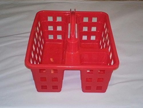 College Dorm 3 Compartment Plastic Shower Caddy/Tote 8x10x7 (Red)