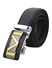 Mens Genuine Leather Belts Automatic Buckle Belts Black Waist Strap
