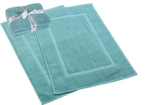 HILLFAIR 900 GSM-Hotel-Spa Tub-Shower Bath Mat Floor Mat - (2 Pack, Aqua, 21 Inch by 34 Inch) - 100% Ringspun Cotton Bath Mat/Bath Rugs,Machine Washable Cotton Bath Mats - Terry Bath Mats/Rugs - SIZE: Each Oversized Bath Towel measures 28 inches wide x 56 inches long, Hand Towel 16 inches wide x 28 inches long, Wash Cloths 13 inches wide x 13 inches long And Bath Mats/Rugs 21 inches x 34 inches Easy Care; Machine washable and dryable, Wash in cold water, Tumble dry low. DO NOT BLEACH - Wash seperately before first use. These truly indulgent towels are available in a wide variety of beautiful colors to suit any home or hotel bathroom. - bathroom-linens, bathroom, bath-mats - 41tEAOSuYfL -