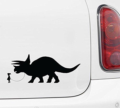 "Yadda-Yadda Design Co. Pet Dinosaur - Triceratops w Boy or Girl- Car | Truck | ATV - Vinyl Decal Sticker 2016 (7"" w x 3"" h) (Girl - Face Left, Black)"