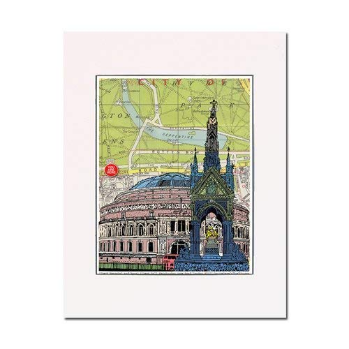 Albert hall and memorial, London, England, Art Print. You Are Here. Gallery Quality. Matted at 11 inches x 14 inches and Ready to Frame.