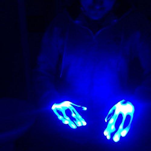 Beauneo 1 Paire Gants Lumineux LED Impressionnant Bar Fete Fluorescent Danse DJ Gants Magiques Lumiere LED Atmosphere Activation des Accessoires Lumiere Bleue