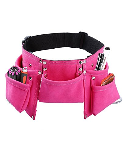 Kids Tool Belt, Monocho Kids Construction Tool Belt Real Suede Leather Children's Tool Pouch with 7 Pockets for Boy and Girl Costumes Dress Up Role Play Adjustable Size for Ages 2-14 (Pink) -