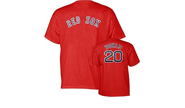 5c86ac0b9 ... Amazon.com Kevin Youkilis 20 Boston Red Sox Red Name and Number Adult T-  ...