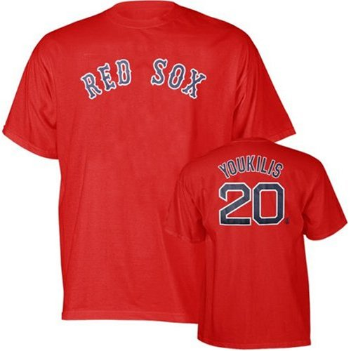 8564d0058 Kevin Youkilis 20 Boston Red Sox Red Name and Number Adult T-Shirt (Small  ...