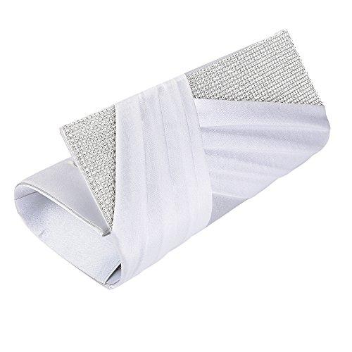 Clutch Purse Crystal Jubileens Evening Pleated Fashion Bag Womens Elegant Satin White 66BqY