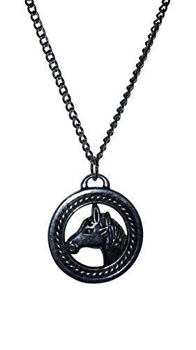 (LTI Equestrian Jewelry, Horse Medallion Pendant 18 Inch Necklace, Free Gift Box and Organza Bag)