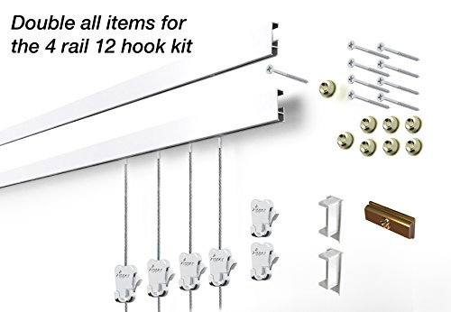 STAS Cliprail Complete Art Hanging Gallery System (4 rails 12 hooks and 8 cables, white rails)