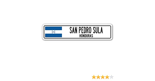 Amazon.com: SAN Pedro Sula, Honduras Street Sign Honduran Flag City Country Road Wall Gift: Home & Kitchen