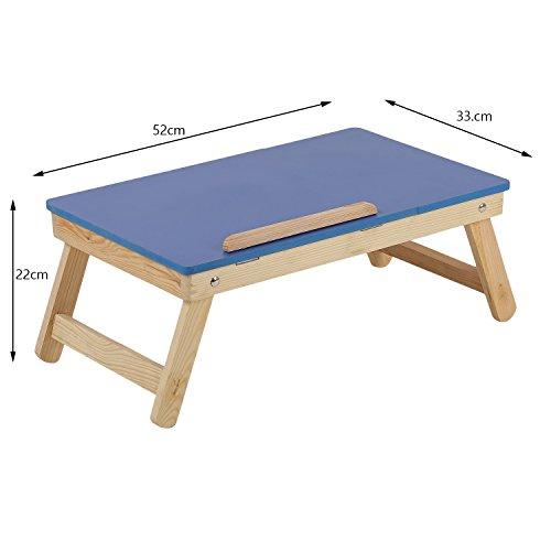 MDN Wooden Multi Purpose Foldable Adjustable Students/Kids Reading, Eating, Study, Laptop, Gaming, Bed, and Portable with Stand Table (52 x 33 x 22 cm, Light Blue)