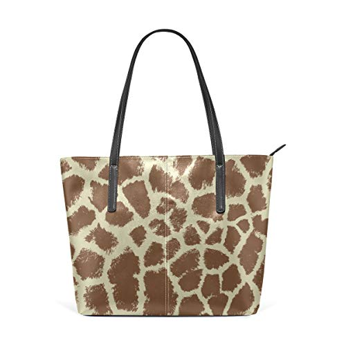 (Laptop Tote Bag Giraffe Repeating Brown White Large Printed Shoulder Bags Handbag Pu Leather Top Handle Satchel Purse Lightweight Work Tote Bag For Women Girls)