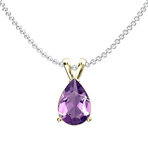 10K Yellow Gold 9x7 mm Pear Cut Amethyst Ladies Solitaire Pendant (Silver Chain Included) (Amethyst 10x7mm Pear)