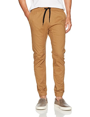(Southpole Men's Basic Stretch Twill Jogger Pants, Tobacco, Large)