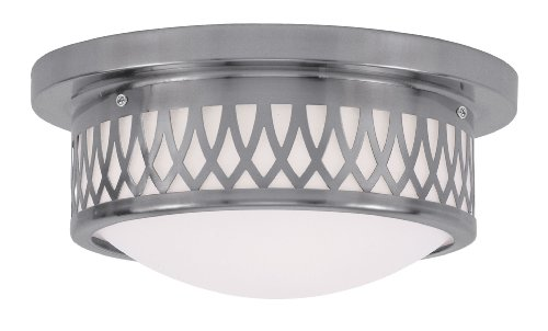 Livex Lighting 7351-91 Westfield 2 Light Ceiling Mount, Brushed Nickel from Livex Lighting