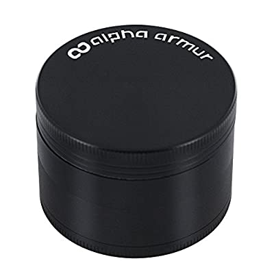 """Alpha Armur Herb Spice Weed Tobacco Grinder with Pollen Catcher and Pollen Scraper, 4 Piece 2.5"""" / 2"""" Inch, and Durable Zinc Alloy Construction by Alpha Armur"""