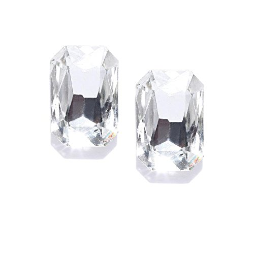 Jewels Galaxy 18k  750  Exclusive Luxuria Crystal Gold Plated and Cubic Zirconia Stud Earrings for Women  amp; Girls
