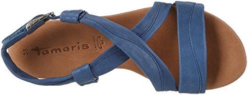 Tamaris 28130, Sandalias con Cuña para Mujer Azul (Denim 802)