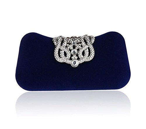 KAXIDY Cartera de Mano Bolso Bolsa de Embrague Hombro de la Noche Bolsa de Fiesta de Bodas (Negro) Azul