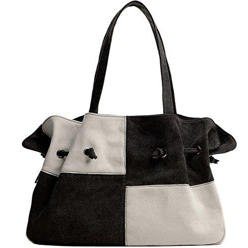 KAXIDY Sac à Main Femme Sac Bandoulière Toile Sac Porté épaule Cabas Sacoche (Noir/Blanc) Noir/Blanc