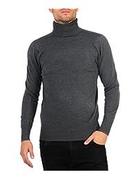 KRISP Mens Long Sleeve Cotton Turtleneck Roll Neck Pullover Polo Knitwear