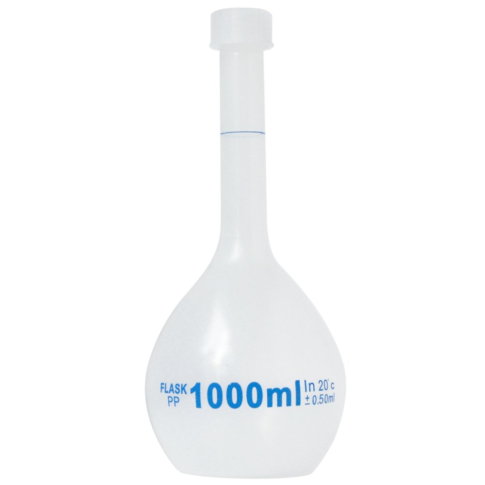 1000ml Volumetric Flask, Polypropylene, Class B, Screw Cap, Karter Scientific 229S4 (Single) by Karter Scientific