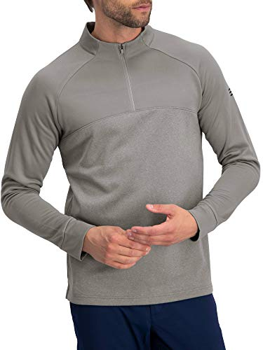 Golf Half Zip Pullover Men - Lightweight Fleece Sweater Jacket, Dry Fit Golf Shirt Storm Grey