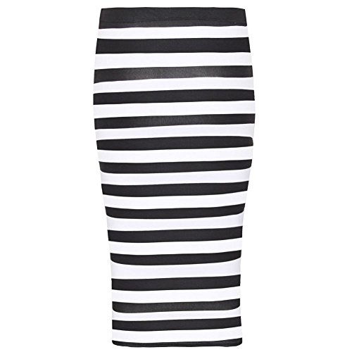 Michel Plus Pencil Stretchy Women Horizontal Skirt Wiggle midi Stripe Bodycon Keegan Janisramone Printed wx8ESzE
