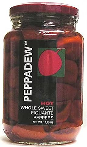 Peppadew Hot Whole Sweet Piquante Peppers, 14-Ounce Glass Jars (Pack of 6) - 14 Oz Glass Jar