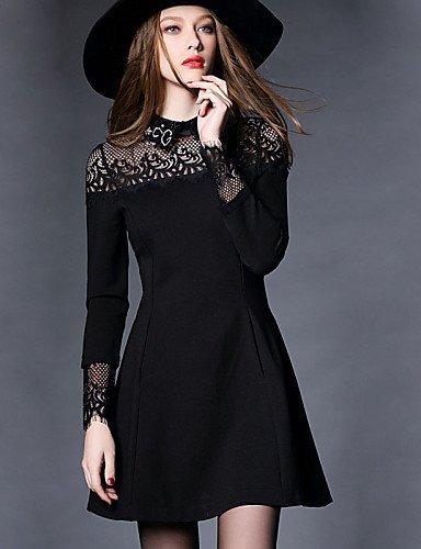 GSP-Damen Kleid - Übergrößen Übergröße / Retro Patchwork Mini Polyester Hemdkragen