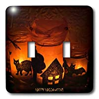3dRose LLC lsp_6025_2 Halloween Cat, House and Bat Luminaries, Double Toggle Switch