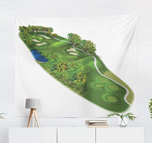 WAYATO Golf Course Wall Tapestry,Tapestry Wall ArtGolf Course Layout Three Dimensional Landscape Wall Tapestry for Bedroom Living Room Dorm Decor 60x50 Inches, Golf Course Layout