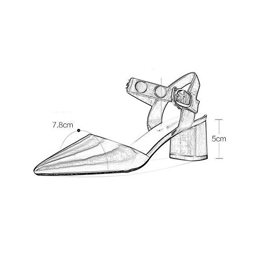 Fiesta Palabra Bajo Mujer Puro Playa Blanco Hebilla Verano Tacones Bloque De Temporada De Bajos Talón Metal WYYY Decoración Retro De De Color Casuales Apuntado De Zapatos Sandalias Zapatos A8HOS