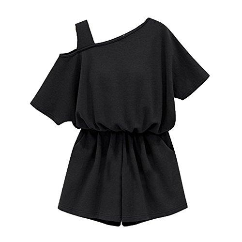 Ez-sofei Women's Summer Off Shoulder Siamese Trousers Jumpsuit Rompers XXXL Black (Plus Size Rompers)