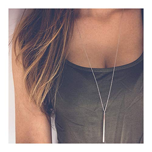 CULOVITY Simple Long Necklace Y Layer Vertical Bar Pendant Necklaces Lariat Chain Polished Jewelry for Women Silver Tone Adjustable ()