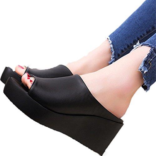 haoricu Women Sandals, Women Summer Fashion Platform Shoes Fish Mouth Sandals Flip FlopThick Bottom Slippers (US:5.5, Black)