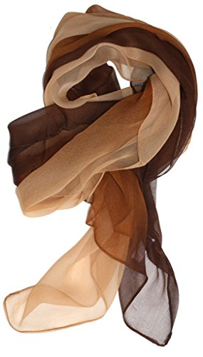 Just Libby-Women's Silk Blend Ombre Oblong Scarf Brown