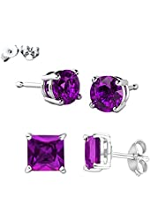 Combo Deal 925 Authentic Sterling Silver Top Quality Cubic Zirconia Stud Earrings 2 Pairs Princess and Round Combo - Choose Color