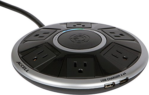 Accell Powramid Air Surge Protector - 2 USB Charging Ports (2.4A), 6 Outlets, 6-Foot Cord, 1080 Joules, ETL Listed - Black Grounded Extension Cord Power Strip