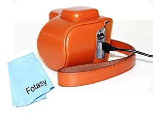 Fotasy Brown Ever Ready Protective PU Leather Camera Case for Sony NEX-5R & NEX-5T with 16-50mm Retractable Zoom Lens SELP1650, Premier Cleaning Cloth