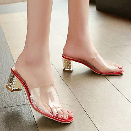 Epais Rouge Sandales Mules Transparent Moda Talons Femmes Coolcept qRxvtOR