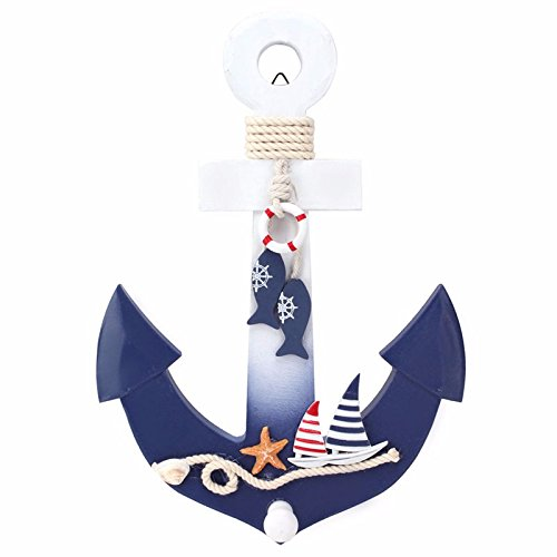 Wooden Nautical Ocean Sea Beach Anchor Mediterranean Style House Shop Decoration Crafts Wall Hanging Hook Life Buoy Fish Star Hanger Home Decor
