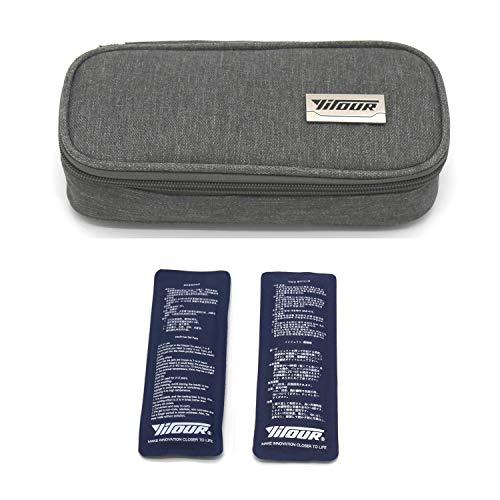 Insulin Travel Bag,Insulin Cooler Bag Medical Care Protector Case Diabetic Organizer Portable Travel Cooler Case+ 2 Ice Packs (Grey)